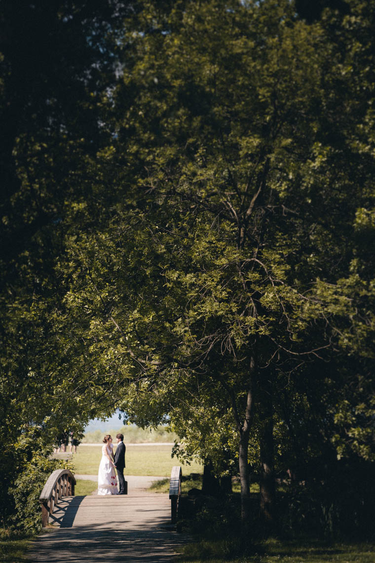 Bride and groom at Jericho park in Kitsilano Vancouver