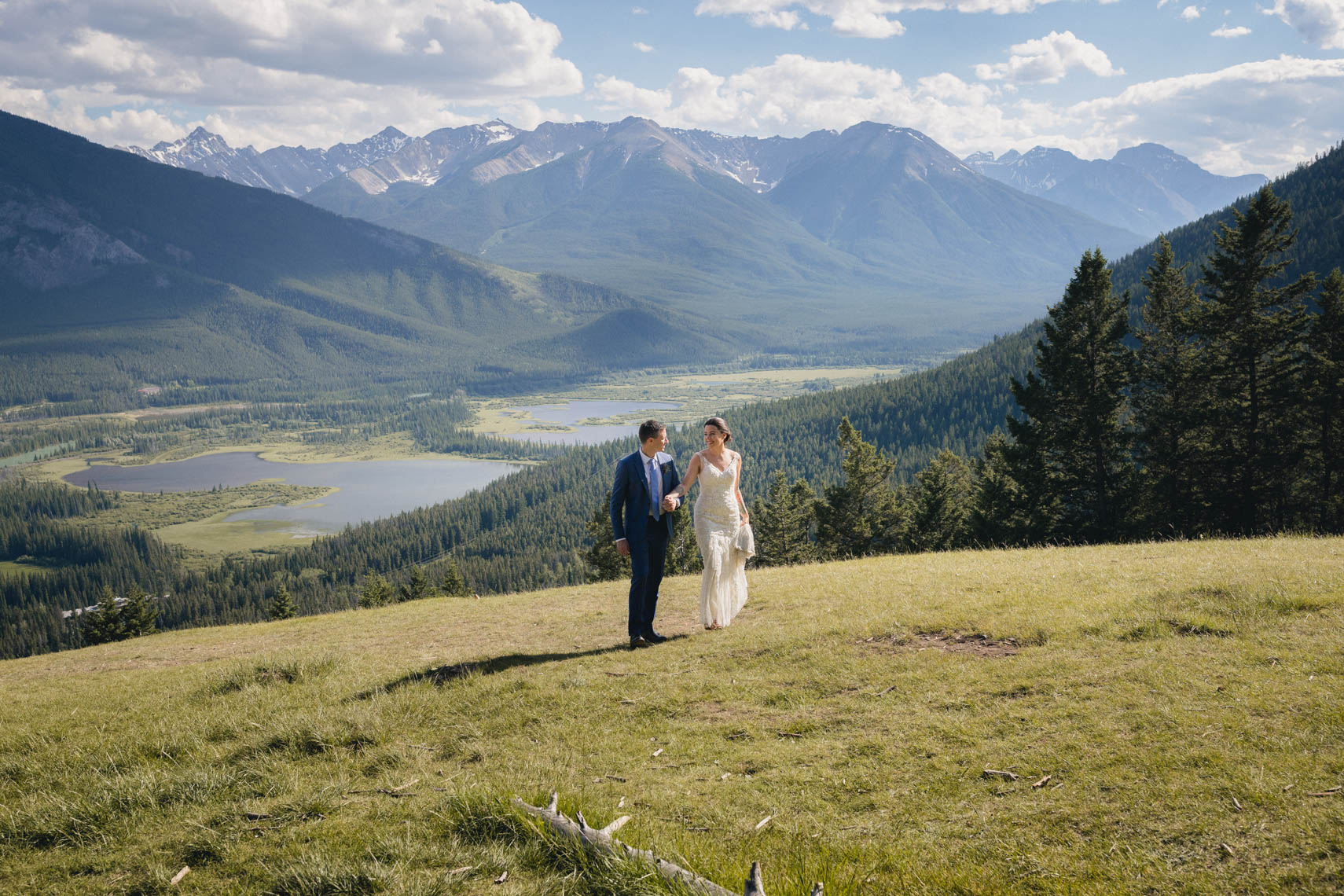 Canadian wedding couple in Banff, Alberta Canada mountains