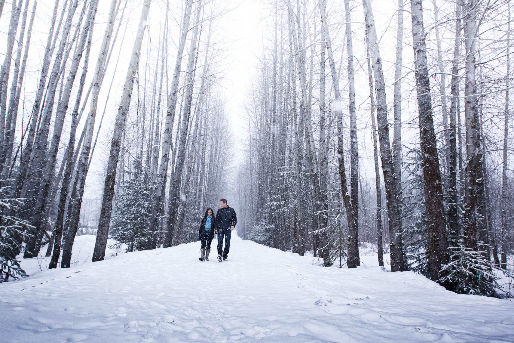 Wedding couple walking in the forest of Whistler BC in the winter snow