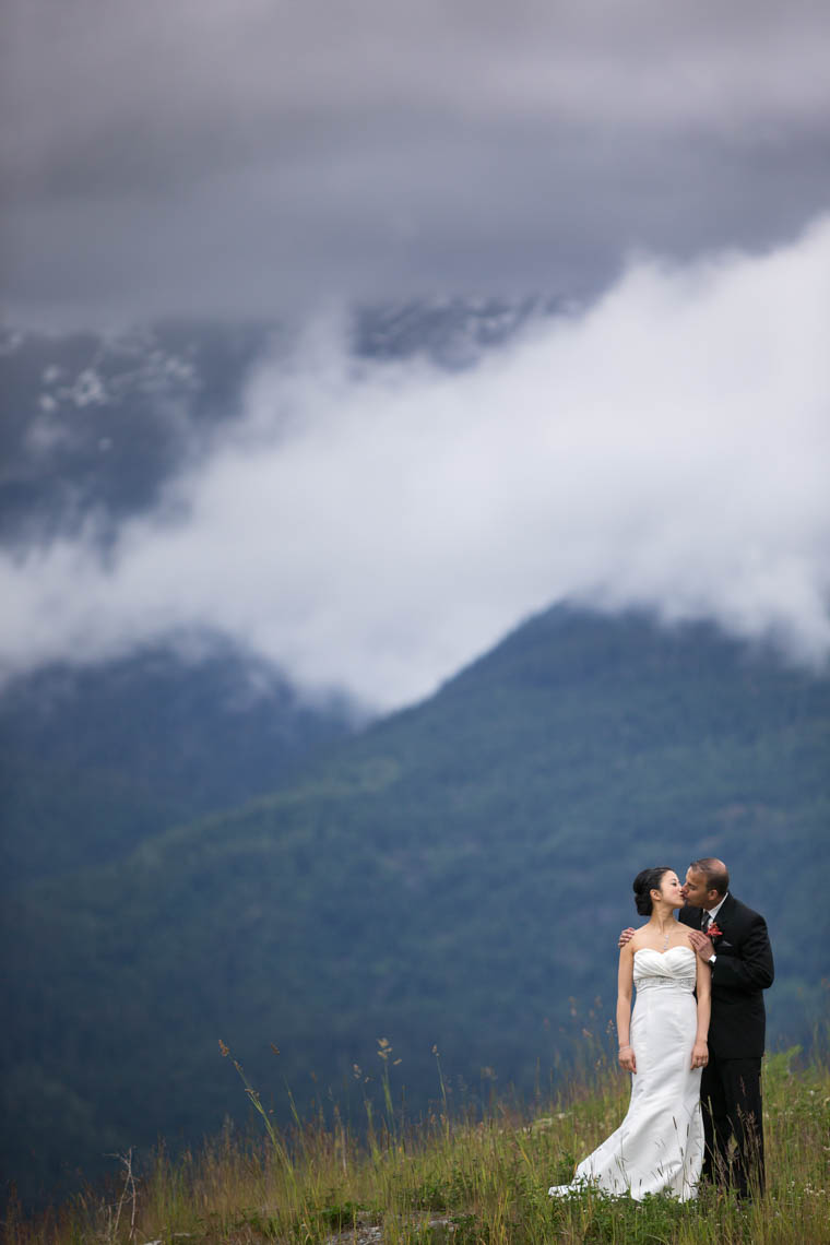 Wedding couple in the mountains of Whistler, Canada.