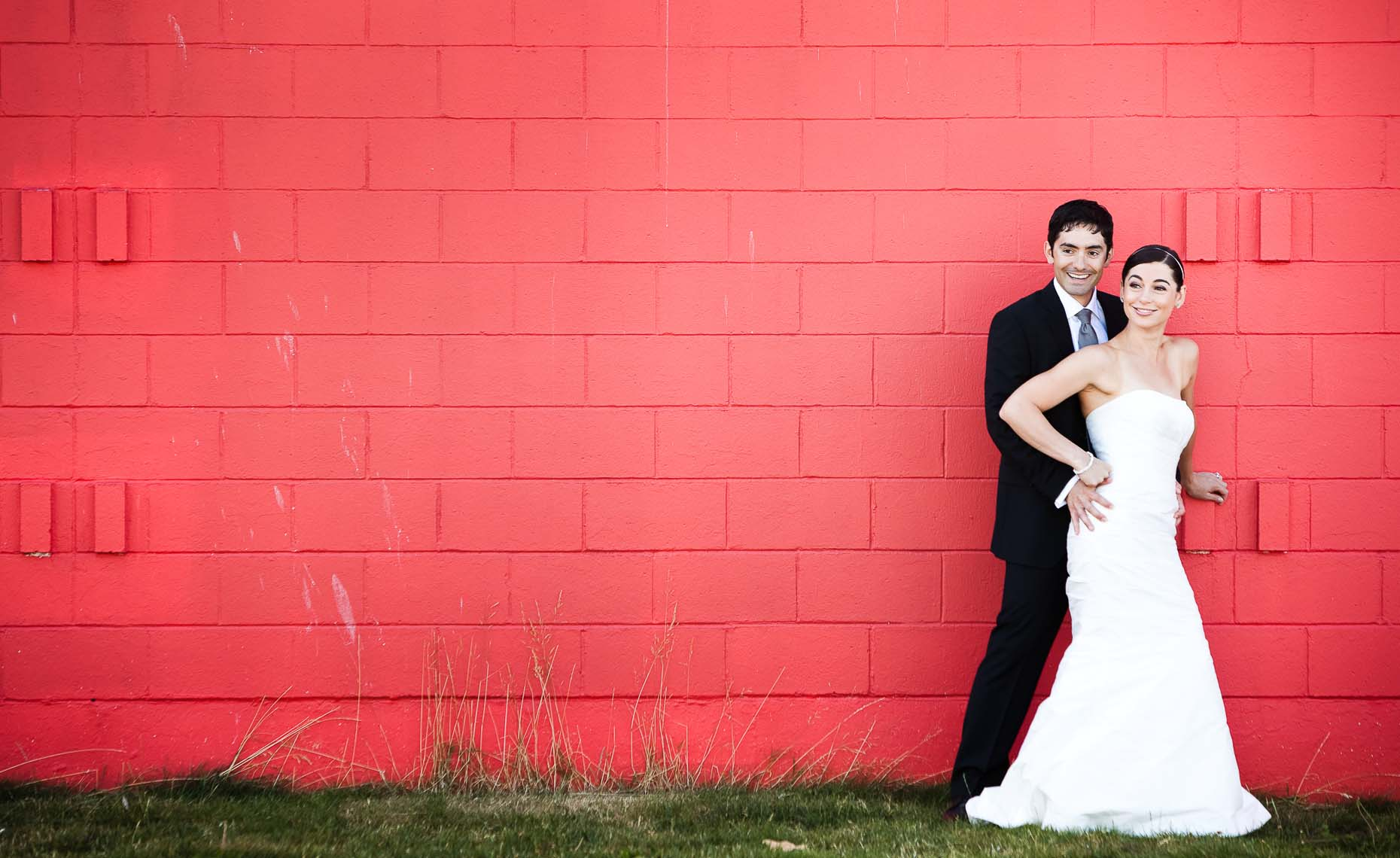 bride and groom colorful portrait in vancouver wedding photo