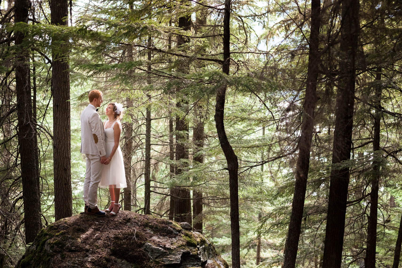 Bride and groom in the forest after Whistler wedding ceremony