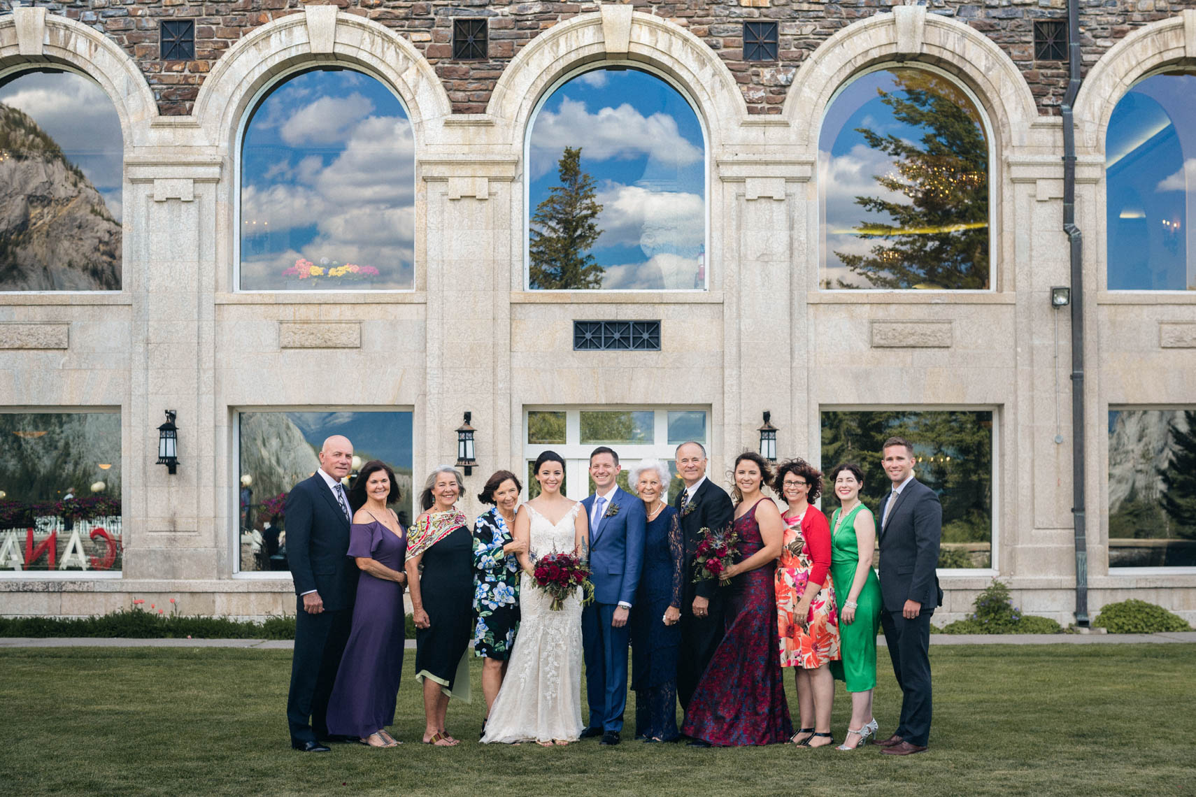 Group wedding family photo at Banff Springs Hotel in Alberta Canada