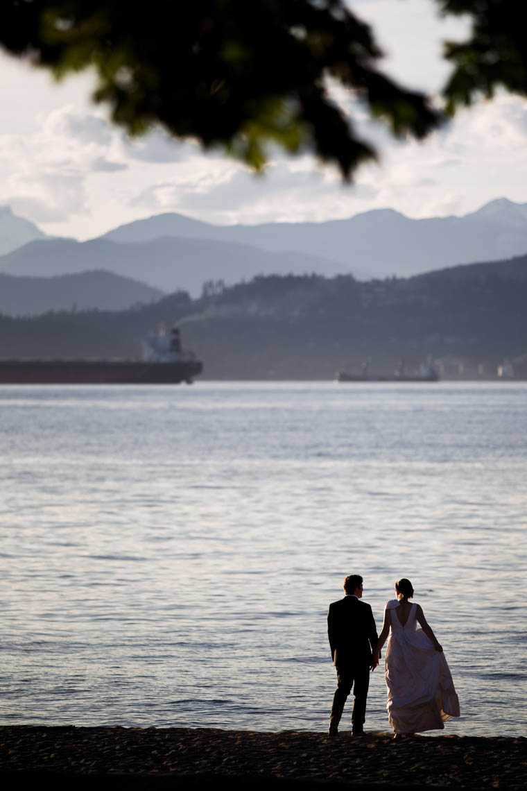 Bride and groom silhouette at Jericho beach in Vancouver BC