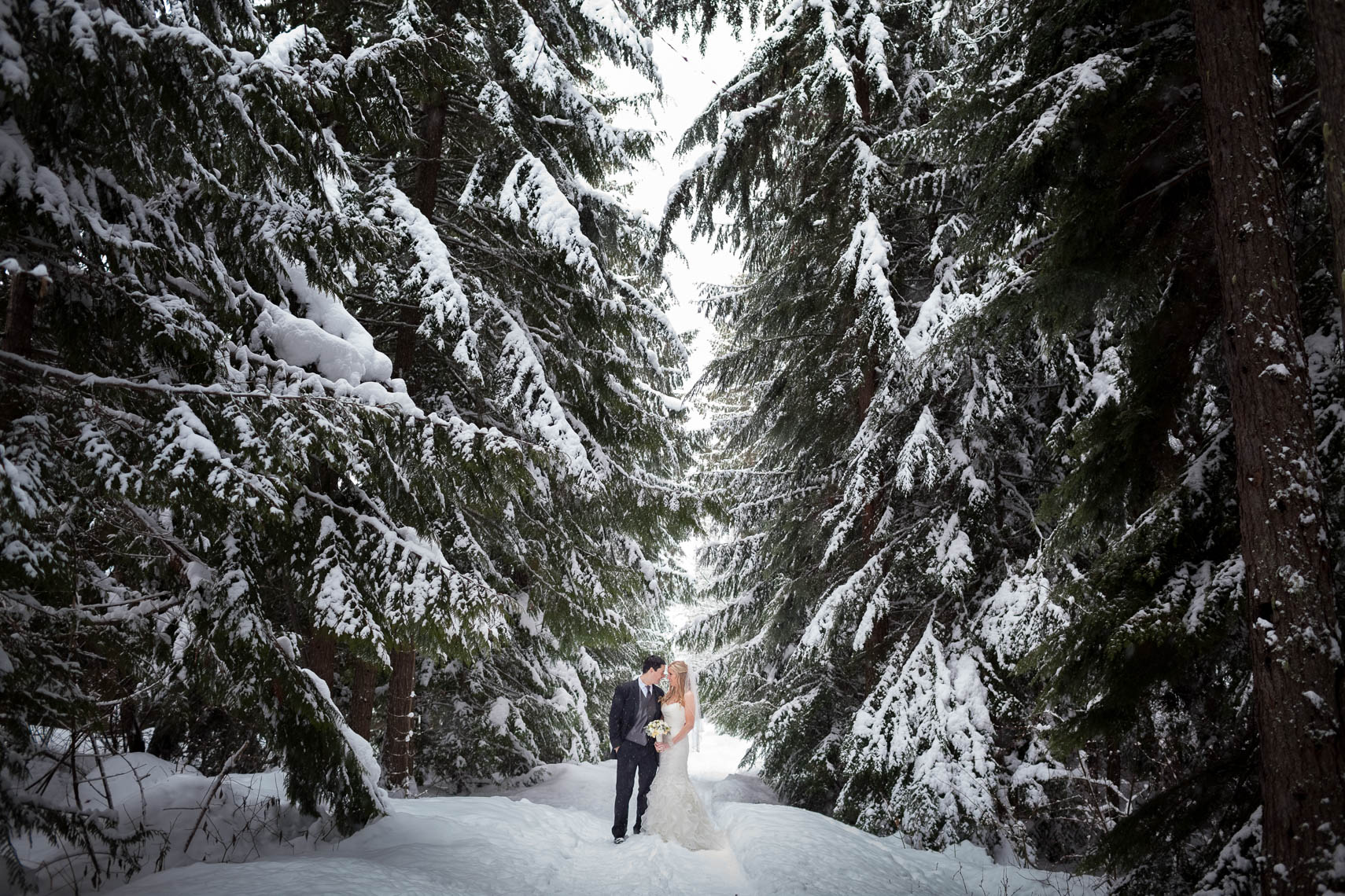Bride and groom on a snowy path in Whistler BC