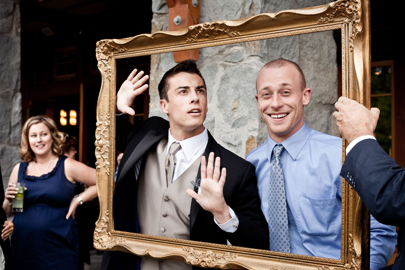 Wedding guests in picture frame at Whistler Wedding