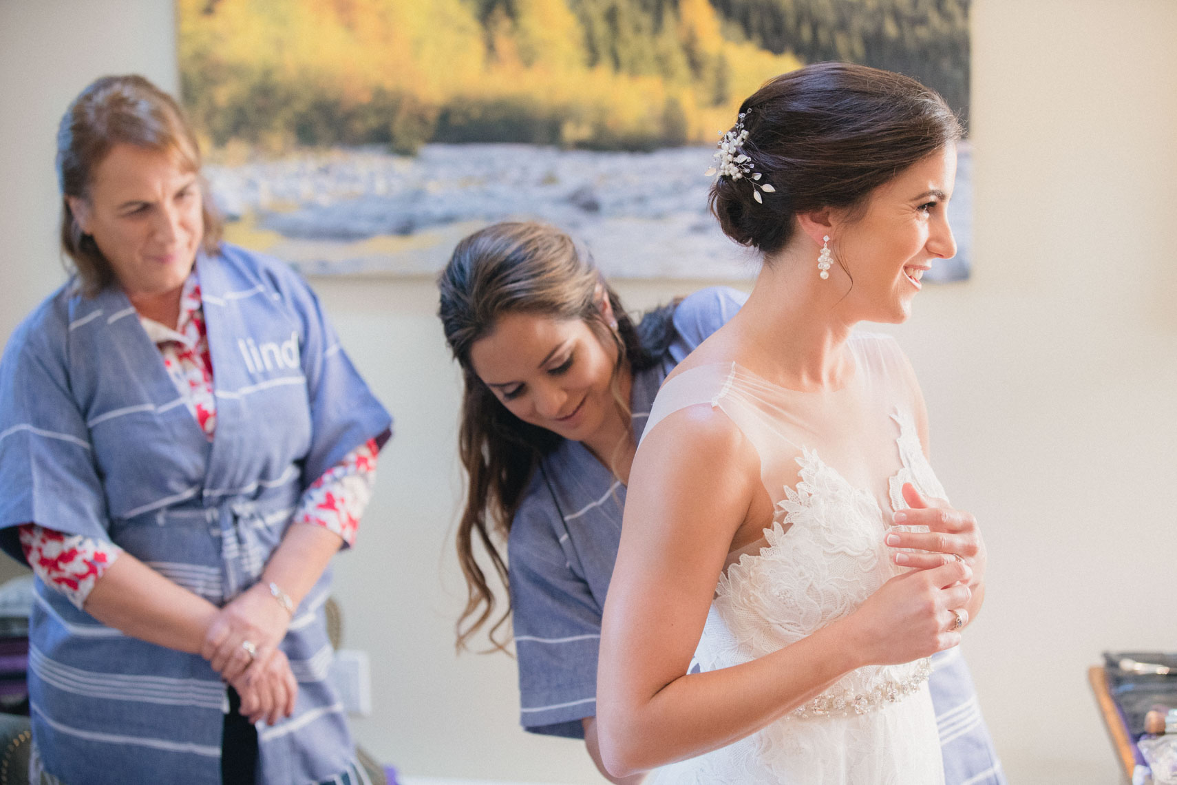 Bride with mother getting ready in Whistler BC