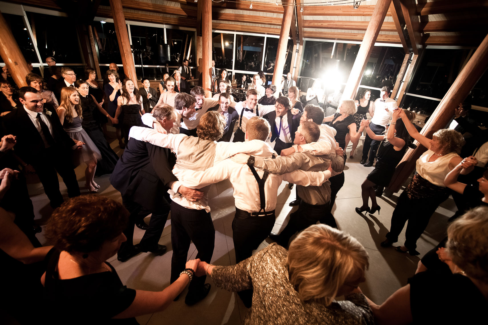 Dance after chuppah at Jewish wedding at the SLCC venue in Whistler BC