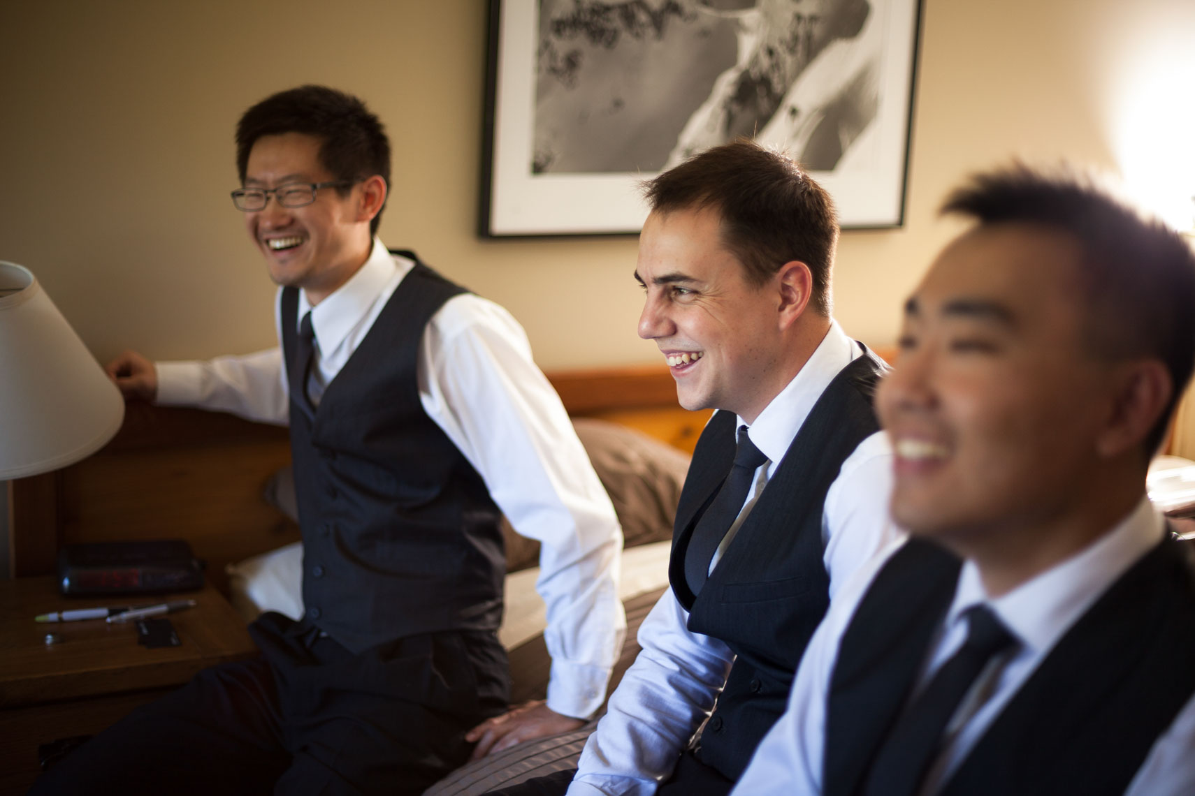 Groomsmen getting ready before ceremony  in Whistler, BC