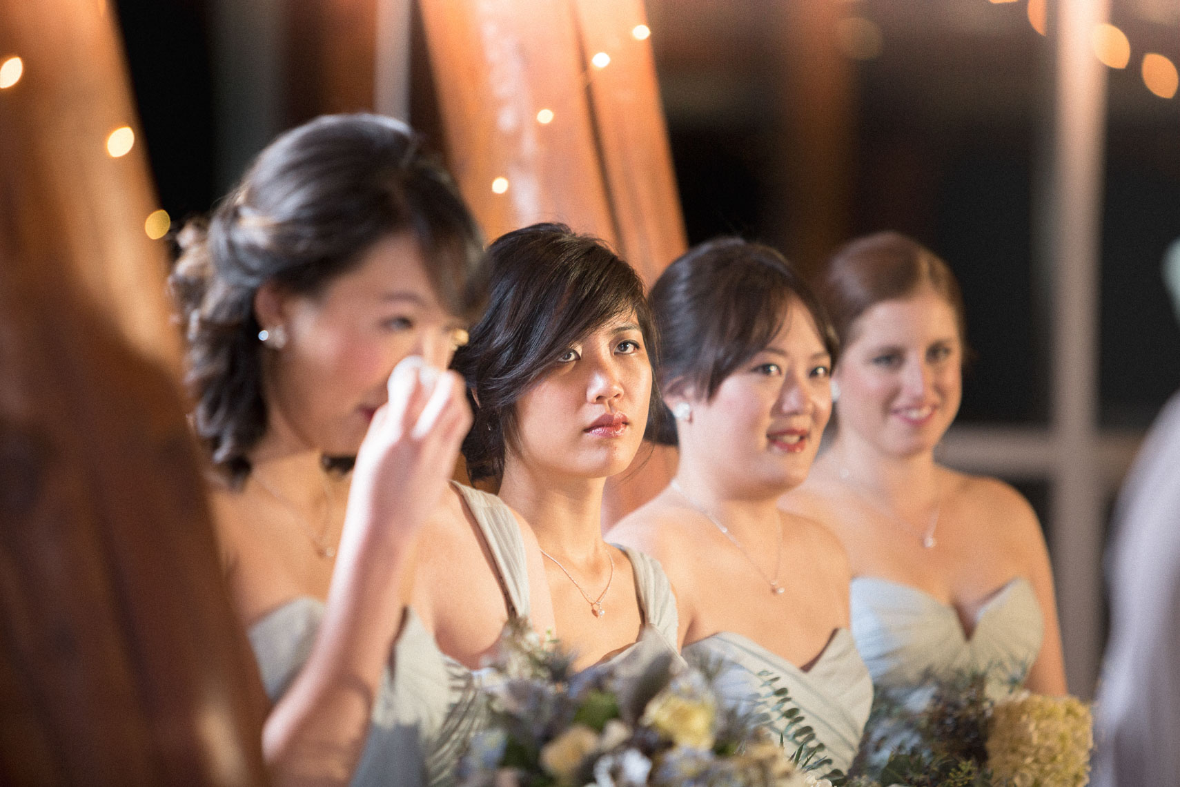 Bridesmaids during ceremony at the SLCC wedding venue in Whistler