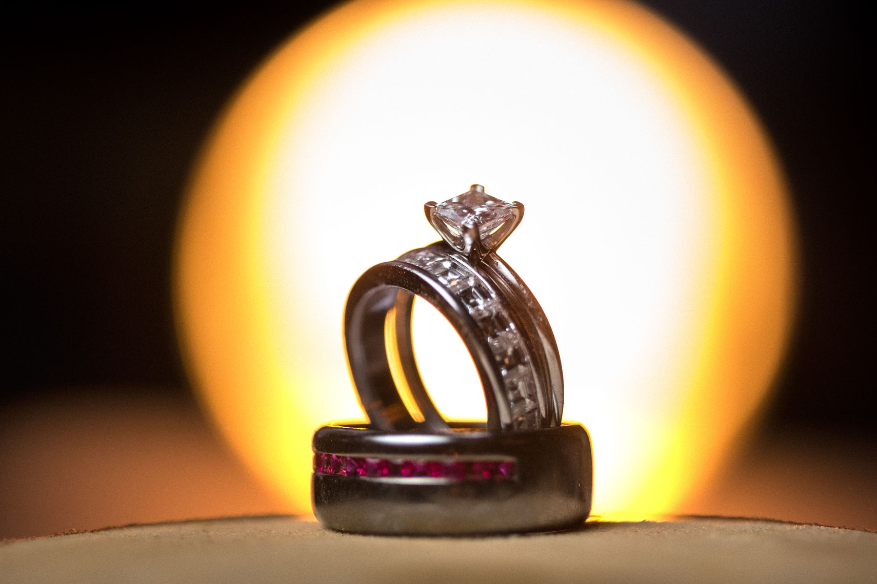 Wedding and engagement ring detail photography at Whistler wedding
