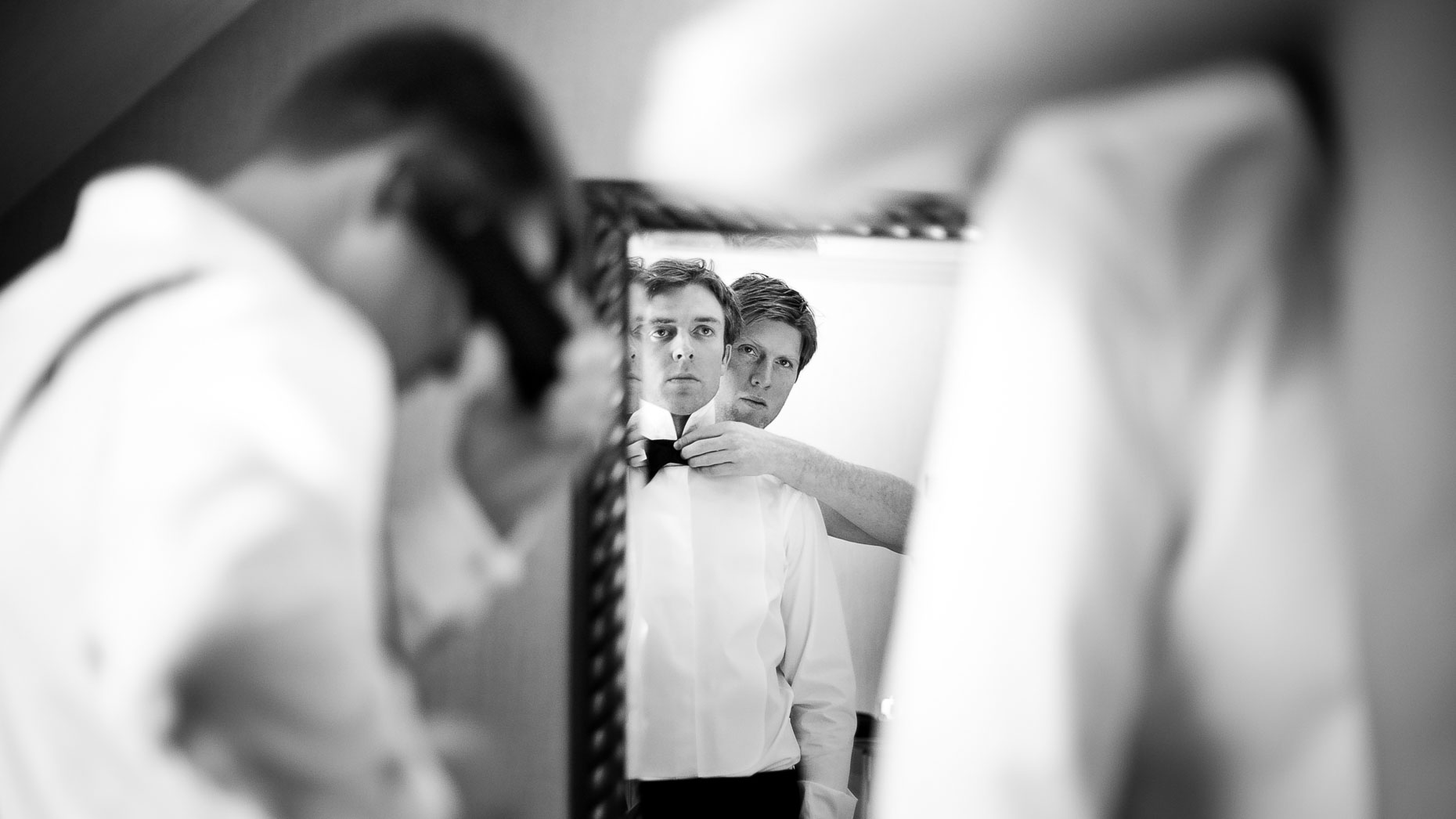 Groom getting ready before wedding ceremony in Whistler BC