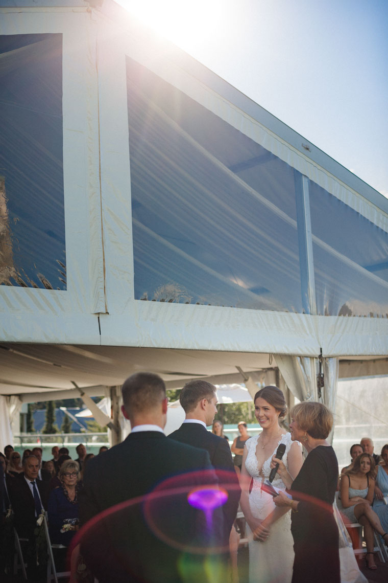 Sun flare during rooftop ceremony at Whistler wedding venue