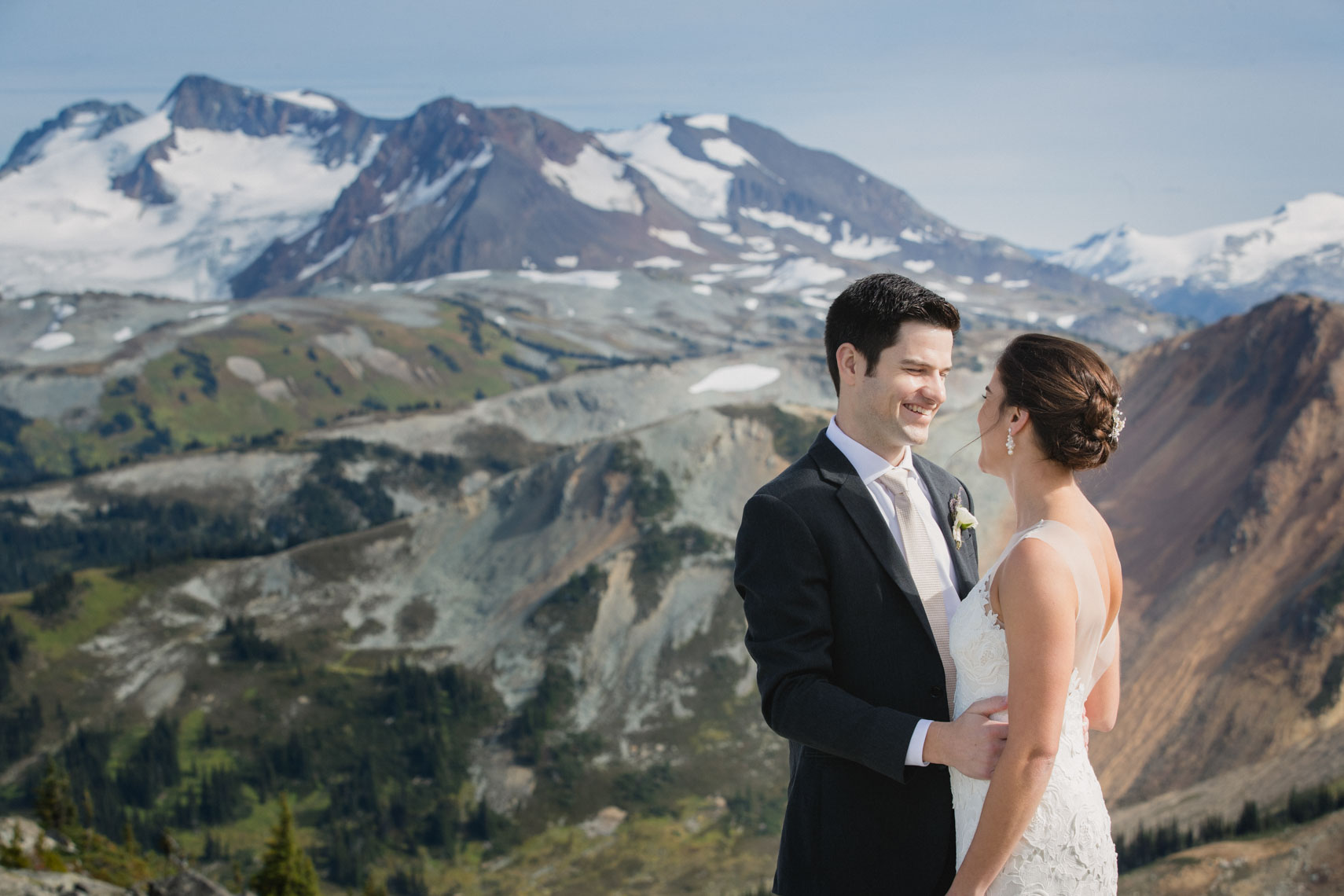 Bride and groom in the mountains of Whistler, BC