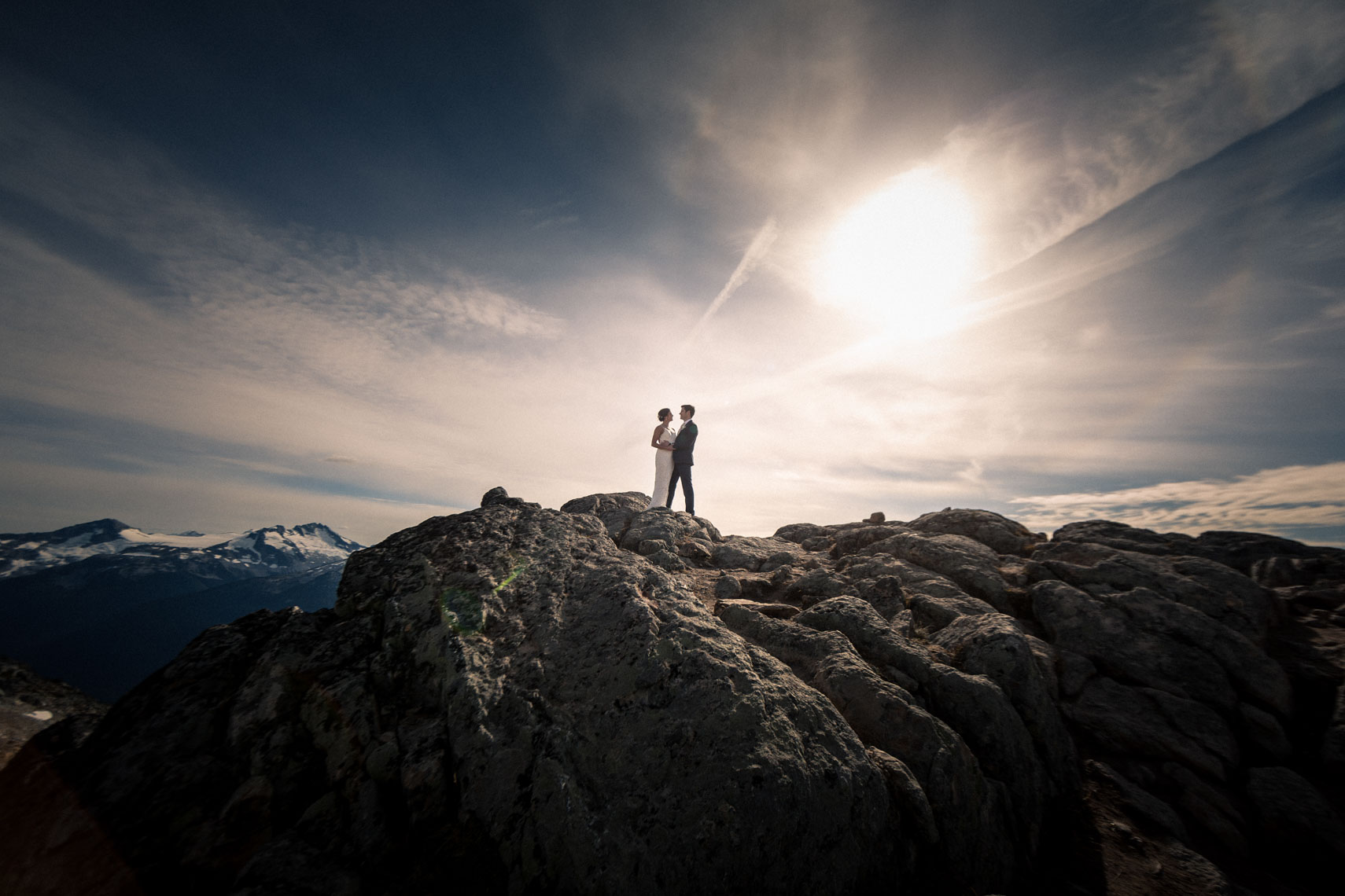 Bride and groom in the mountains of whistler before wedding