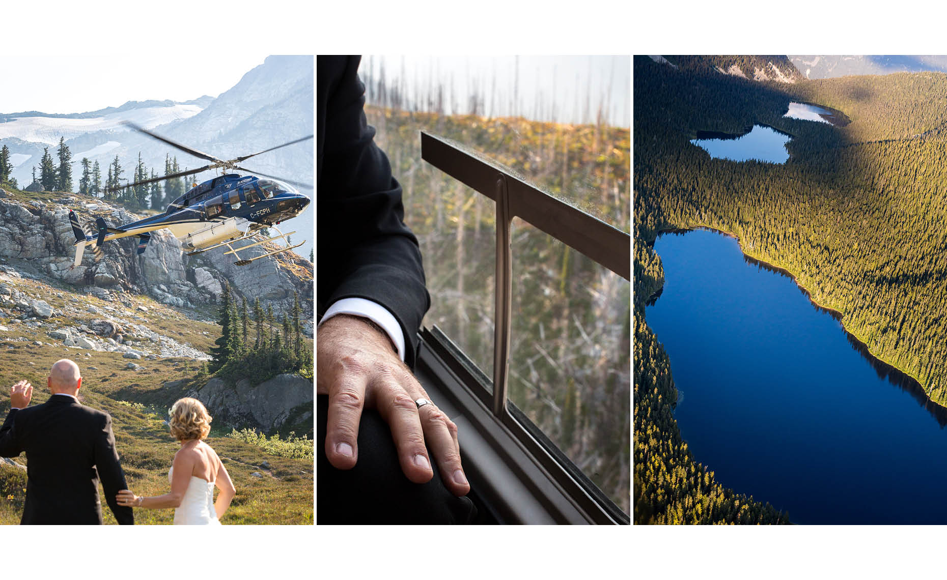 intimate adventure wedding in whistler mountains by helicopter