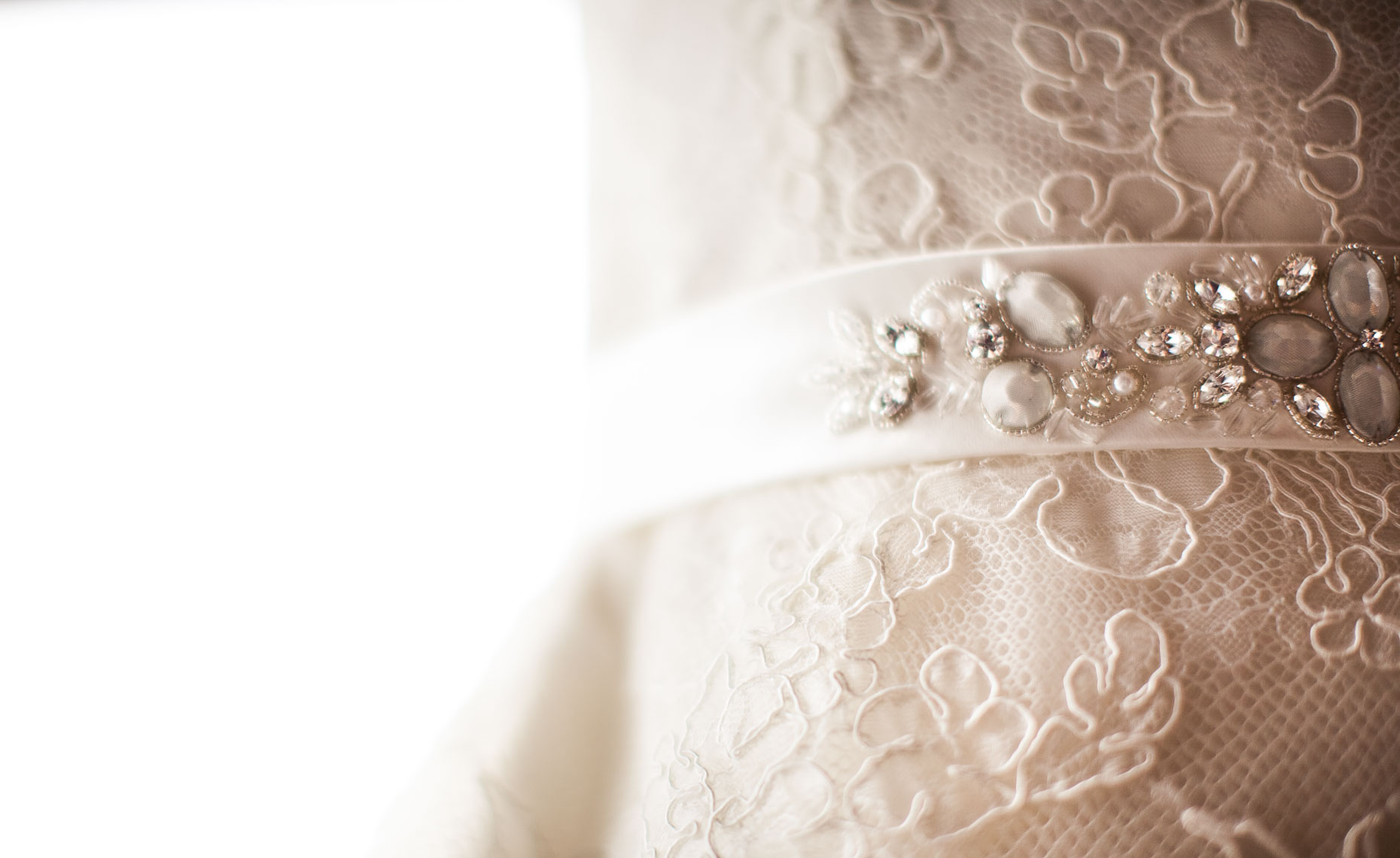 Wedding dress jeweled belt detail