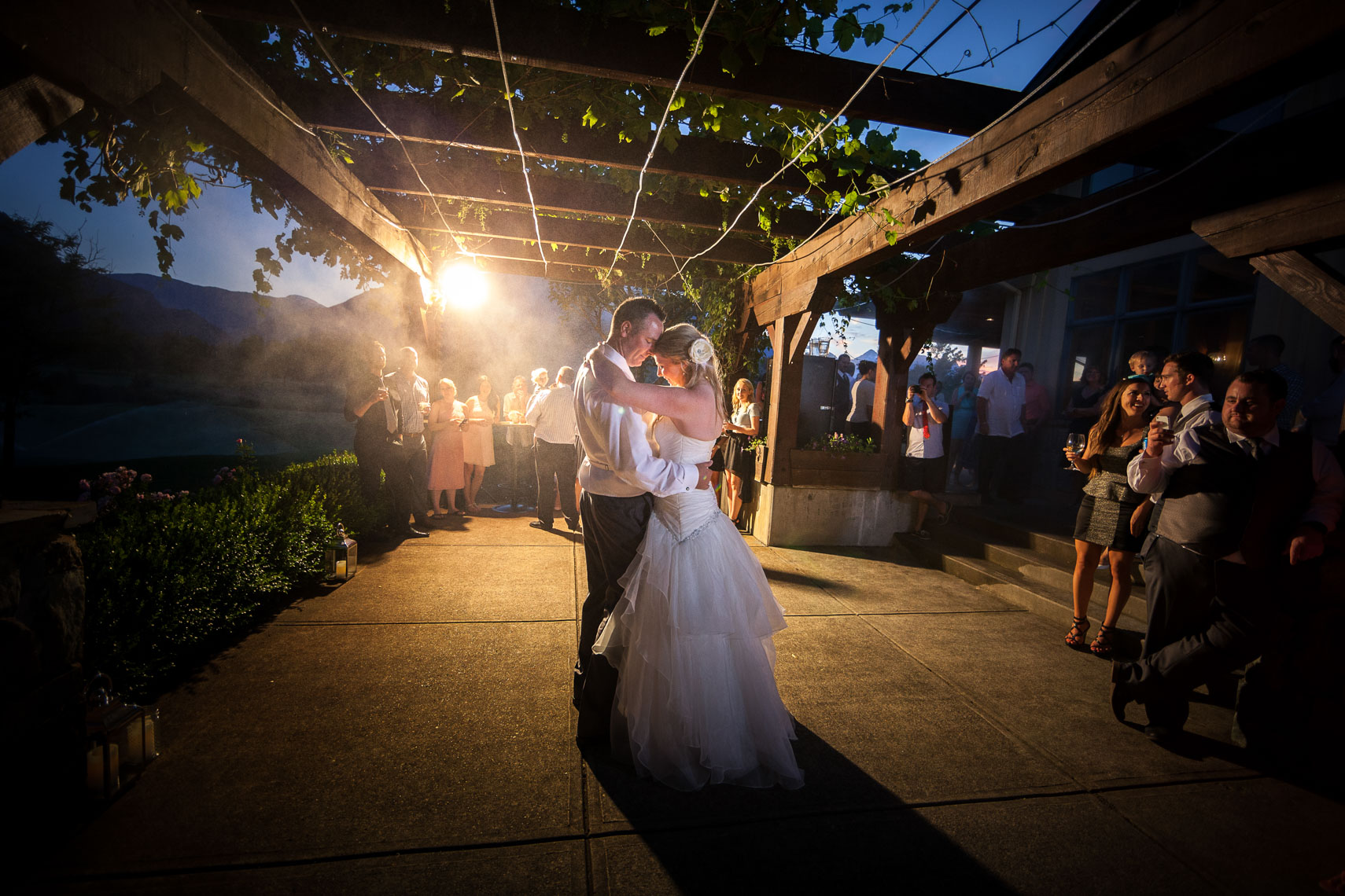 Bride and groom share first dance at the Big Sky golf wedding venue in Pemberton BC