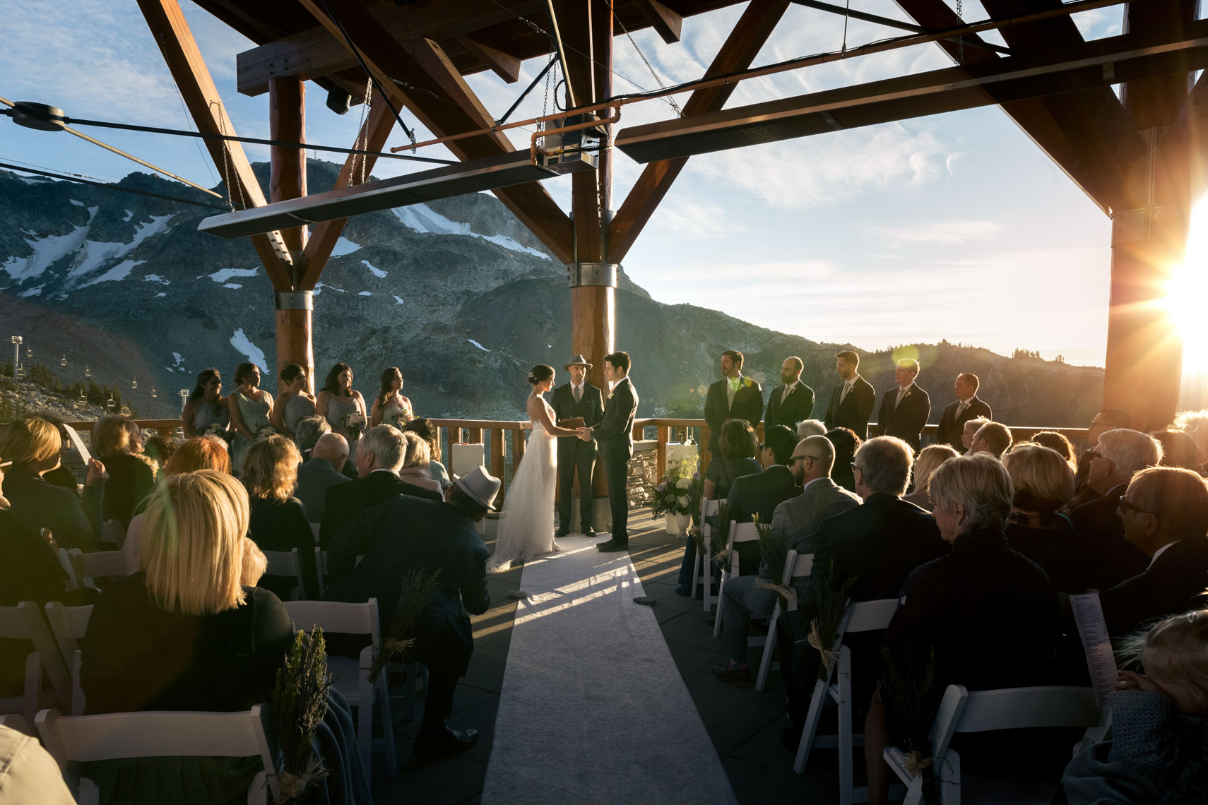 Bride and groom in the mountains of whistler BC during ceremony
