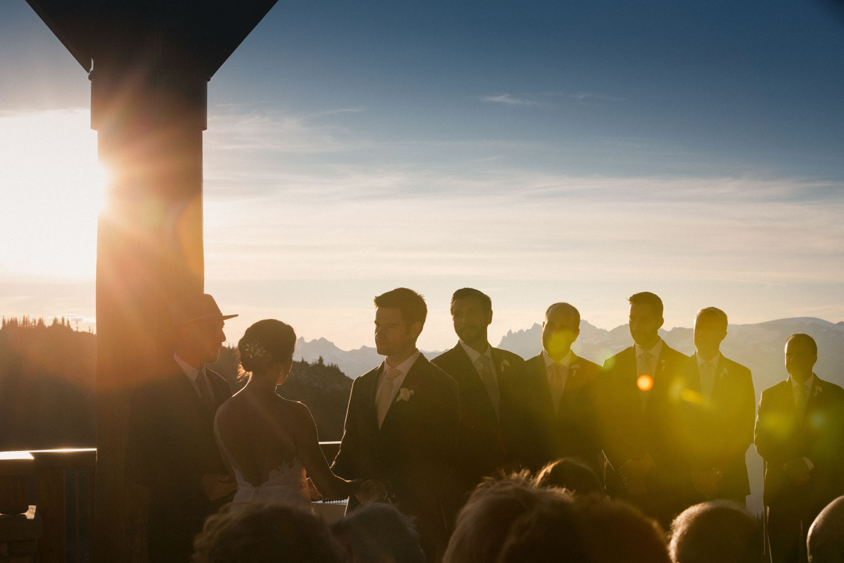 Wedding ceremony in Whistler BC on top of whistler mountain