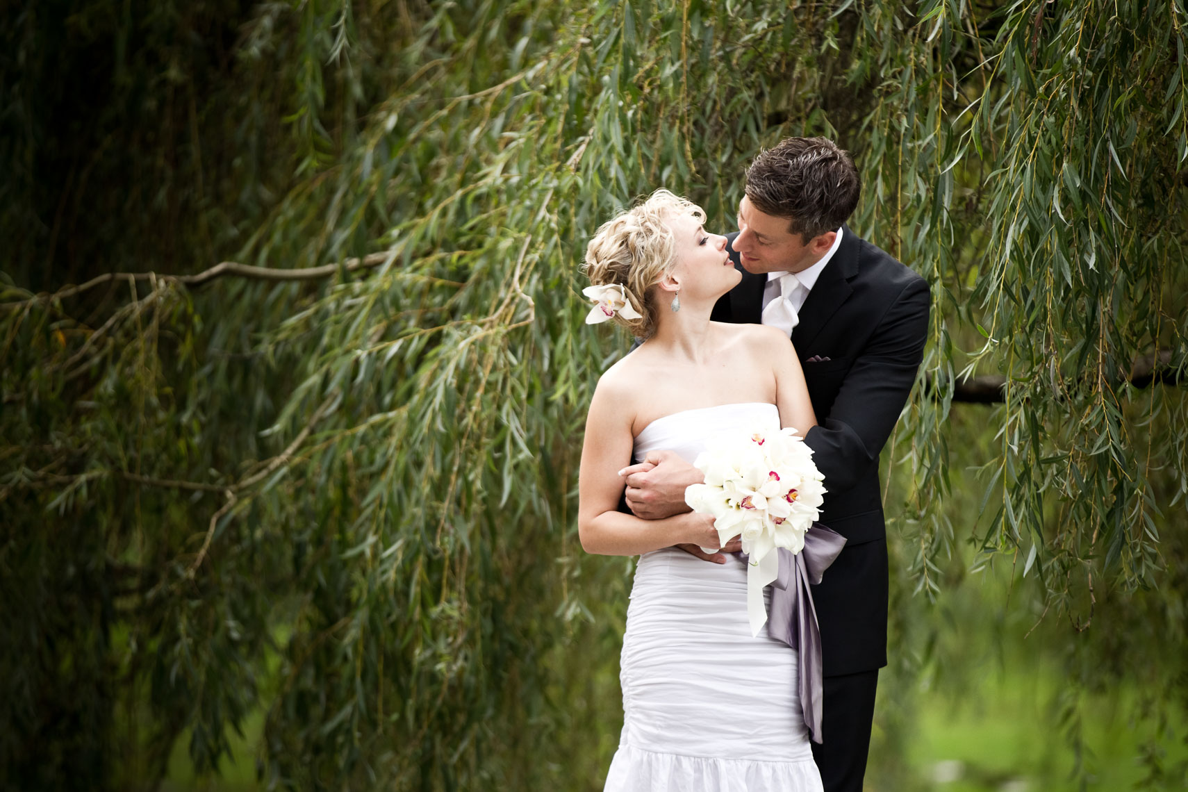 Bride and groom kiss beneath a willow tree in Queen Elizabeth Park, Vancouver