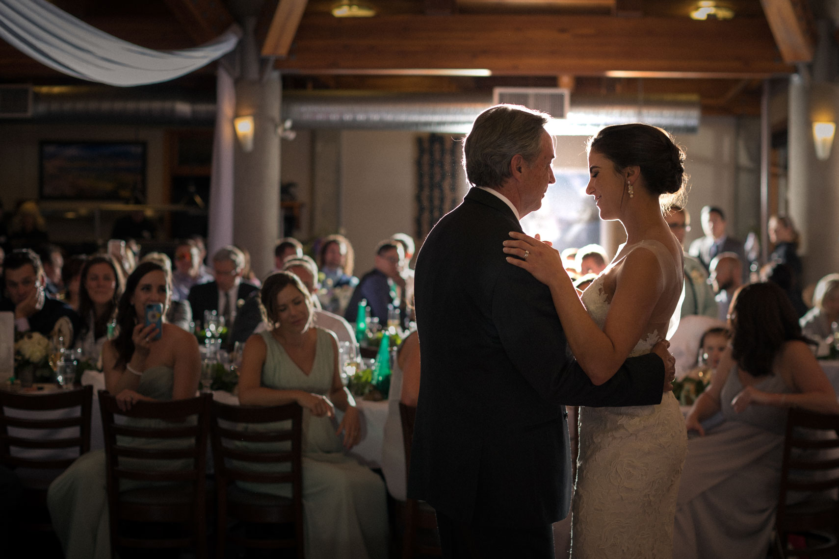 Bride and father dance during wedding reception at Roundhouse Lodge