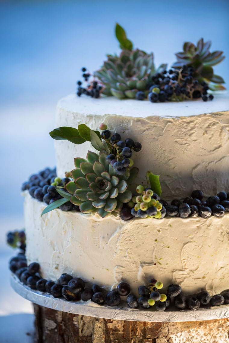 Wedding cake with berries and succulent leaves