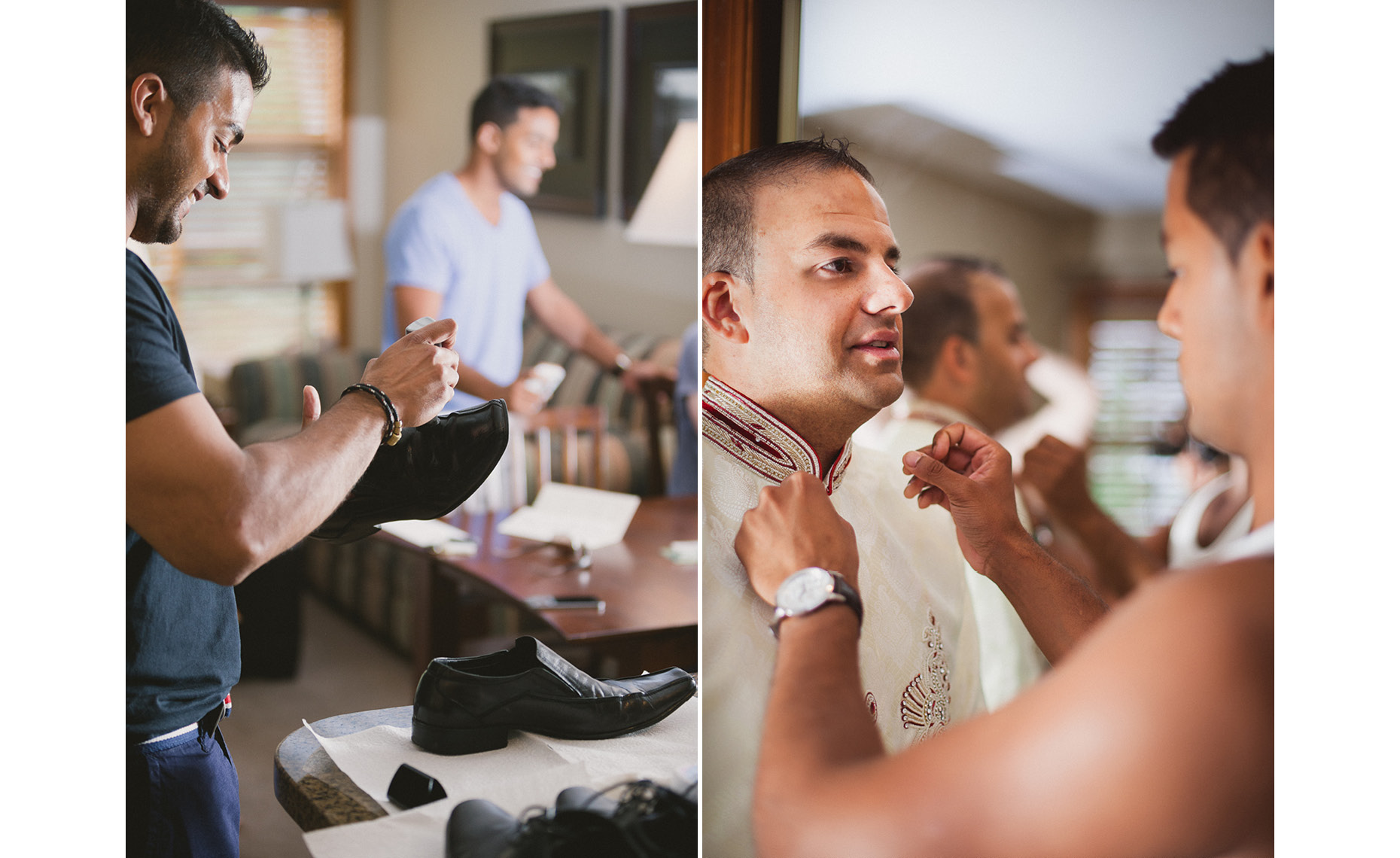 Groom dressing for unique wedding ceremony in Whistler