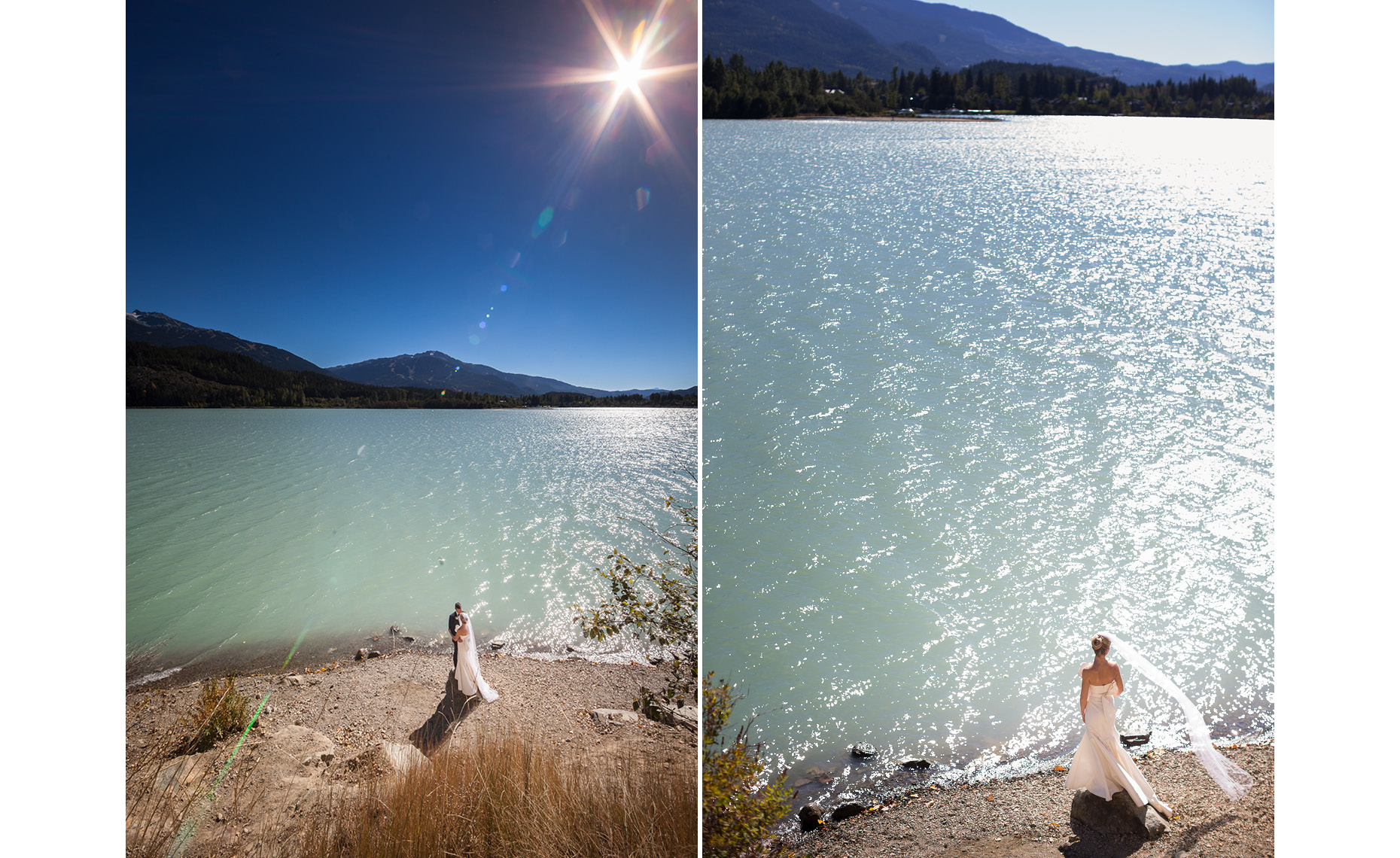 Natural sunlight in wedding bride portrait by Green Lake in Whistler, BC