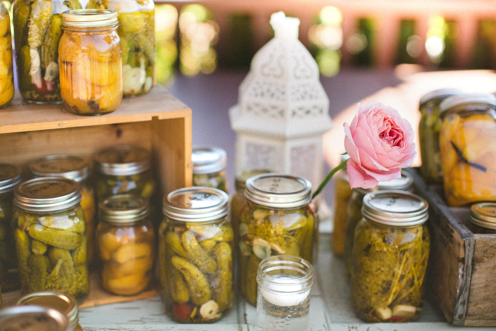 Jarred preserves at rustic farm wedding in Pemberton, BC.