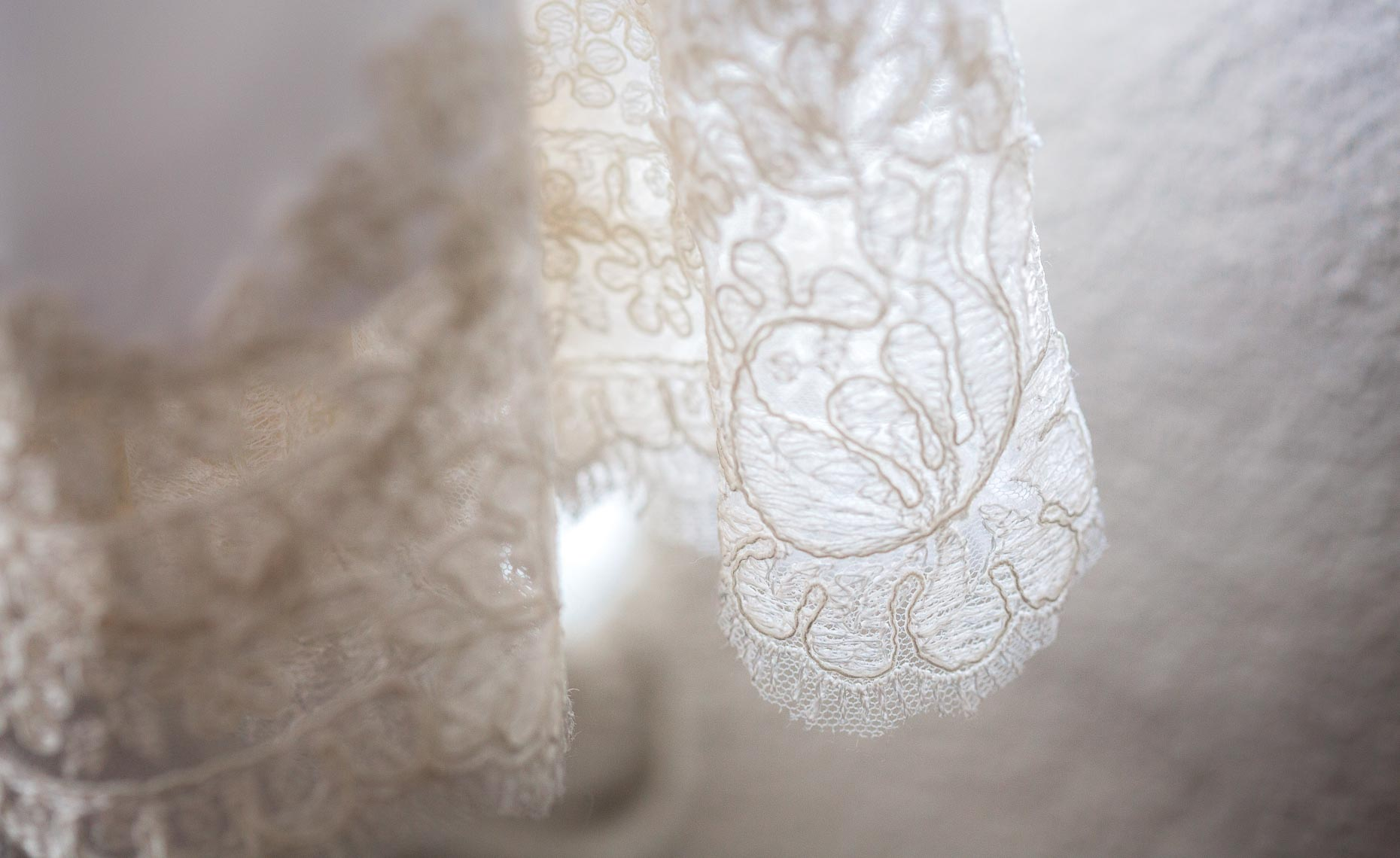 Wedding dress closeup from ceremony in whistler, British Columbia