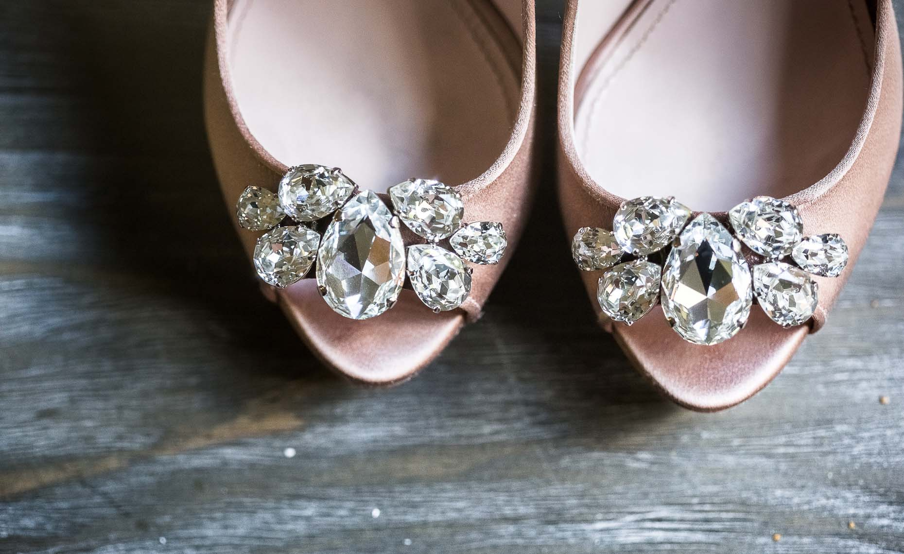 Detail of bridal shoes from Whistler wedding.
