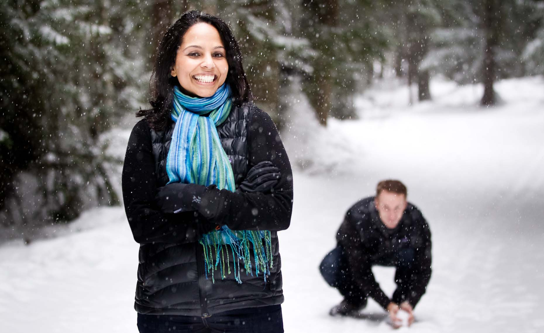 Snowy winter engagement photo session in Whistler, BC