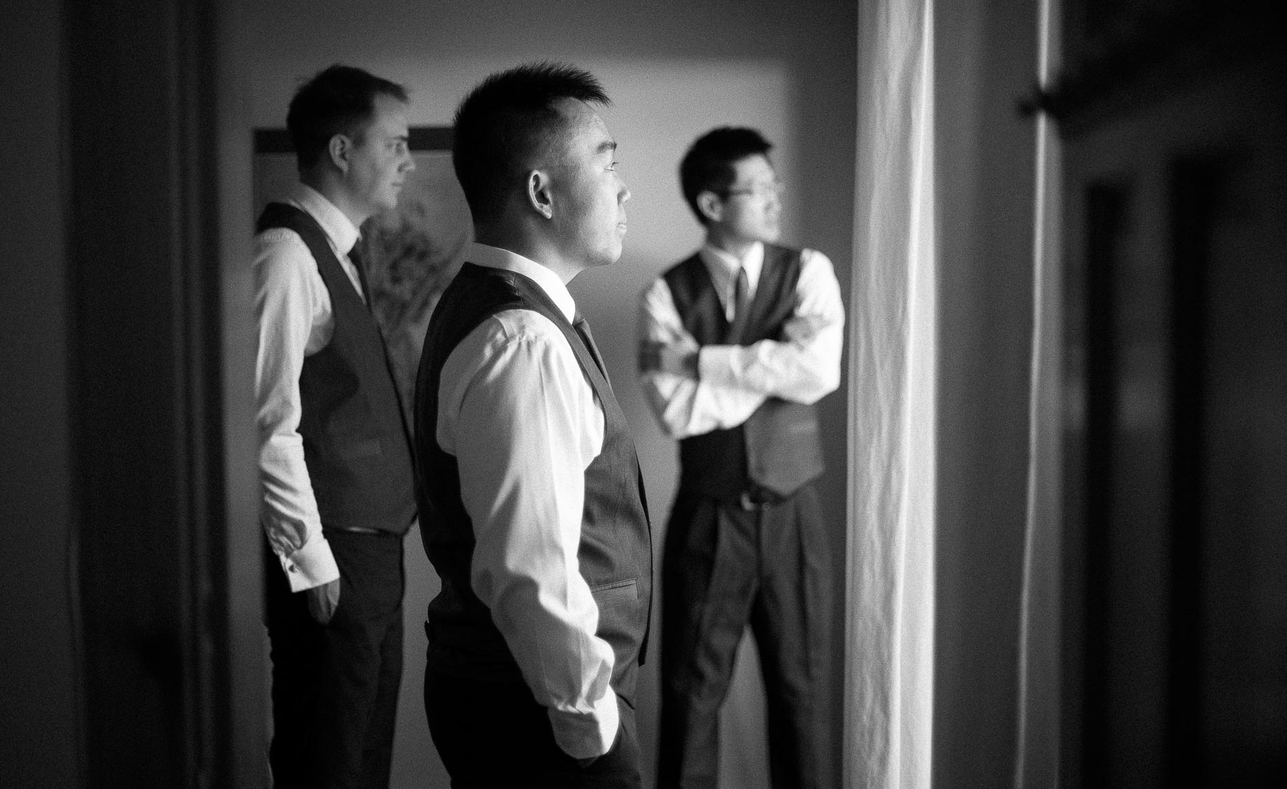 Groomsmen getting ready before wedding ceremony in Whistler, Canada