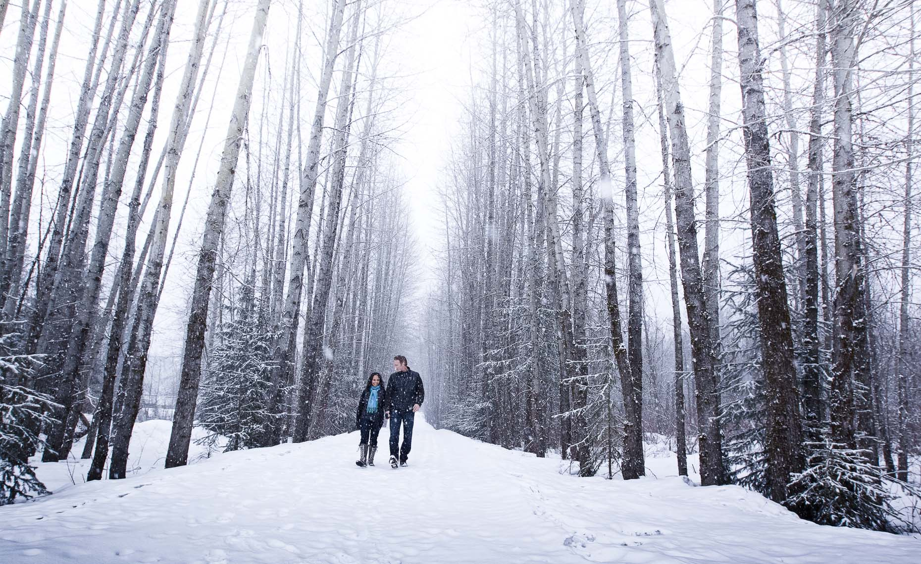 whistler winter wedding forest path