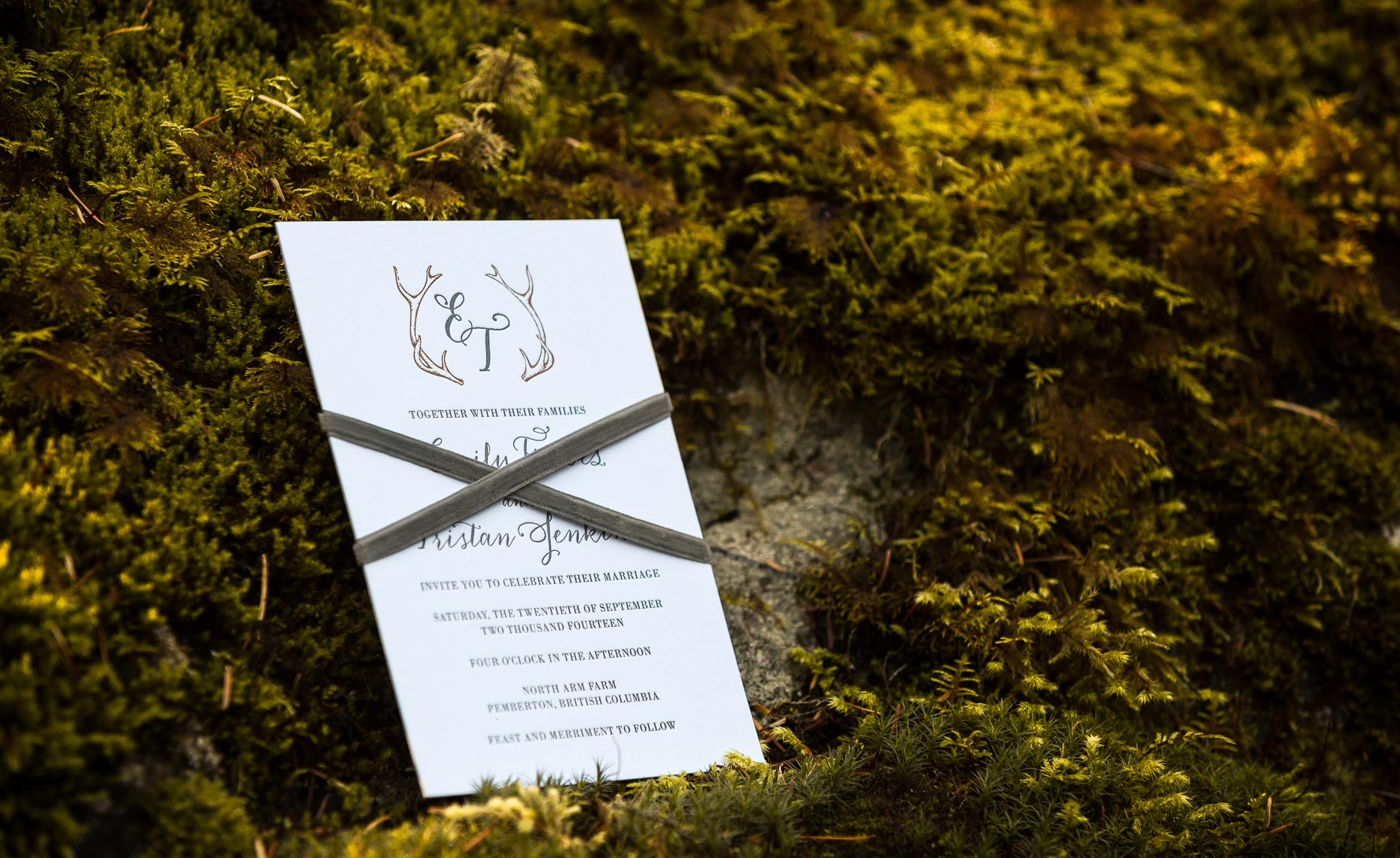 Vintage wedding invitations in Whistler