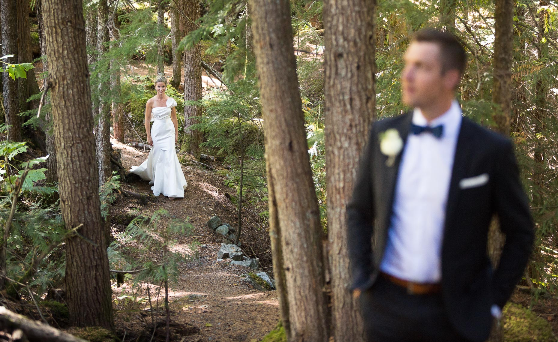 Wedding couple in the forest in Whistler during first look