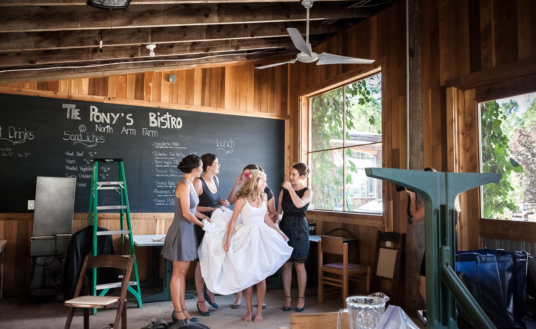 Vintage organic farm wedding in barn.