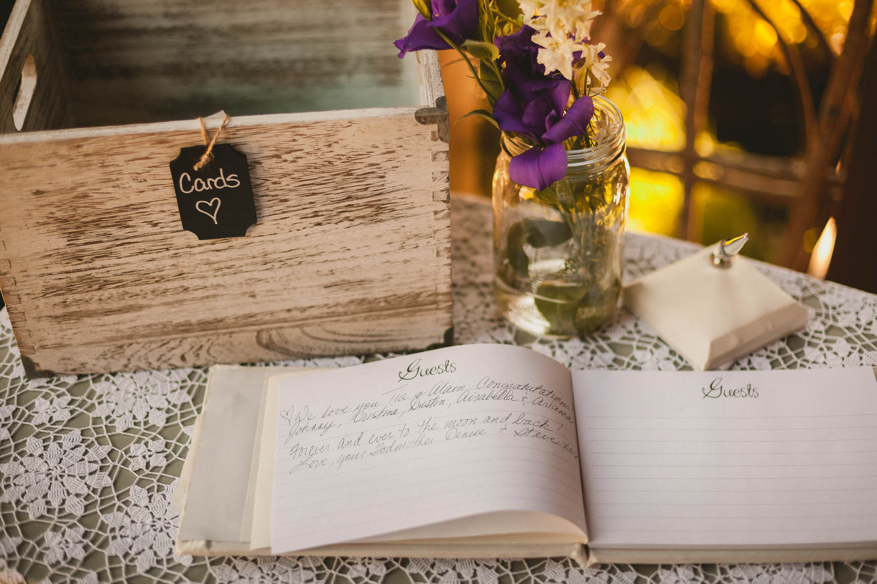 Wedding guestbook detail captured by whistler wedding photographer