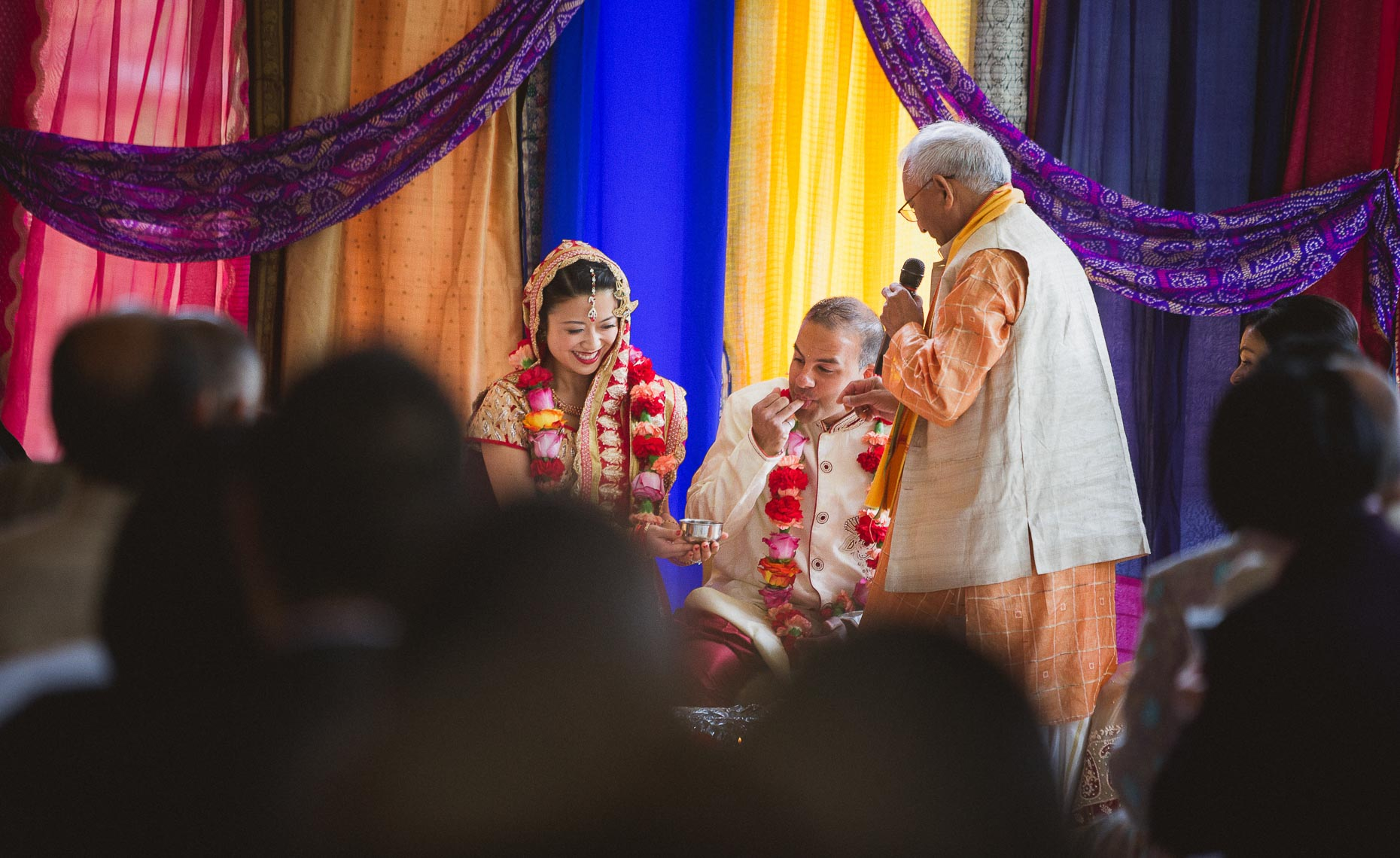 Saptapadi ceremony during traditional indian wedding in whistler