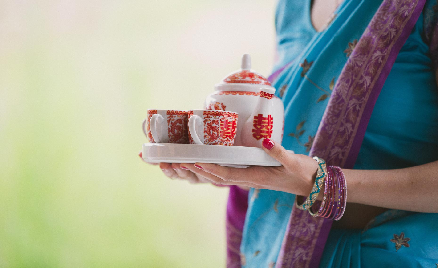 Tea served at hindu wedding ceremony after Saptapadi  in Whistler, Canada