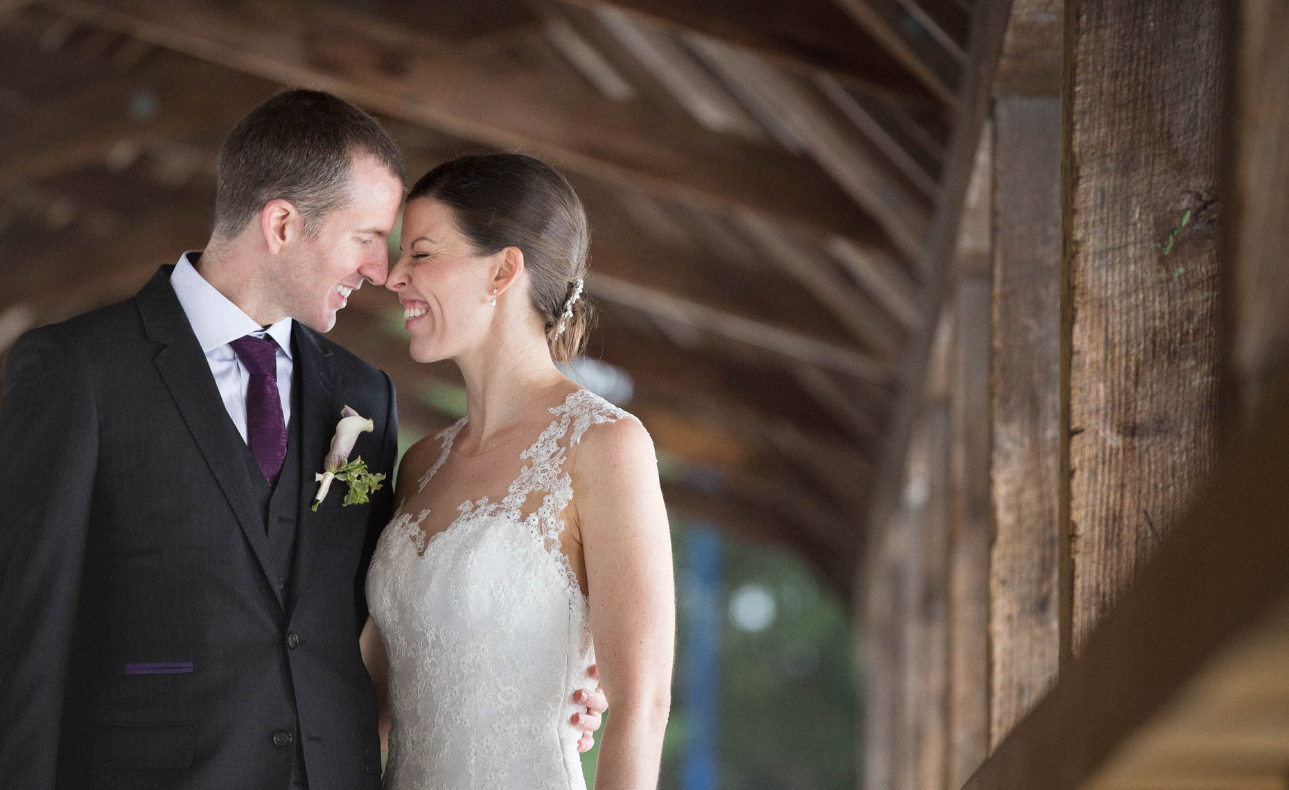 Intimate moment between bride and groom in this whistler wedding portrait