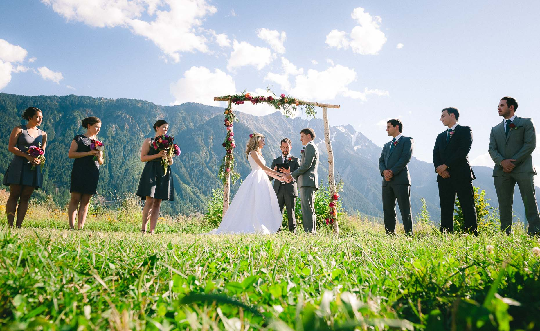 Homemade rustic archway at whistler wedding
