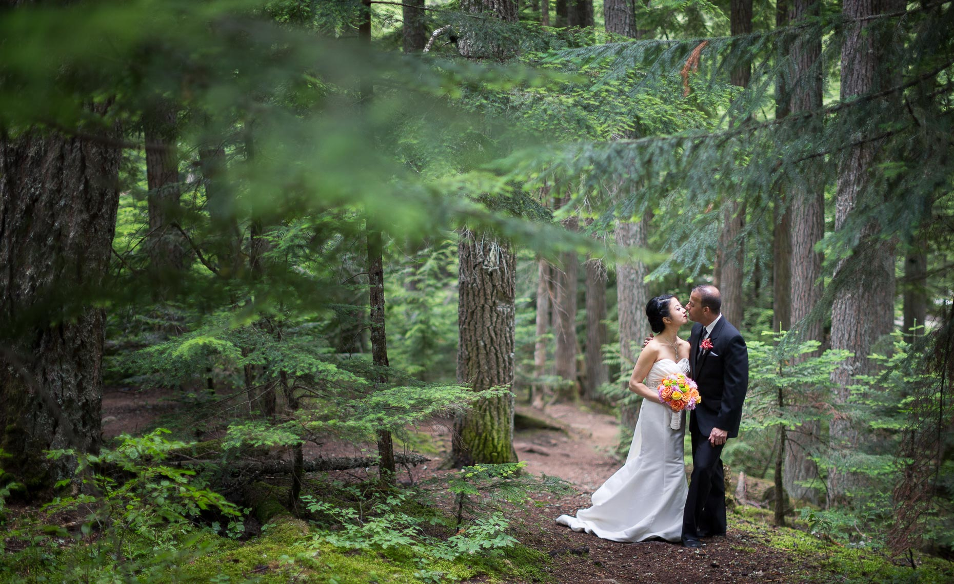 Intimate natural environment green wedding in whistler