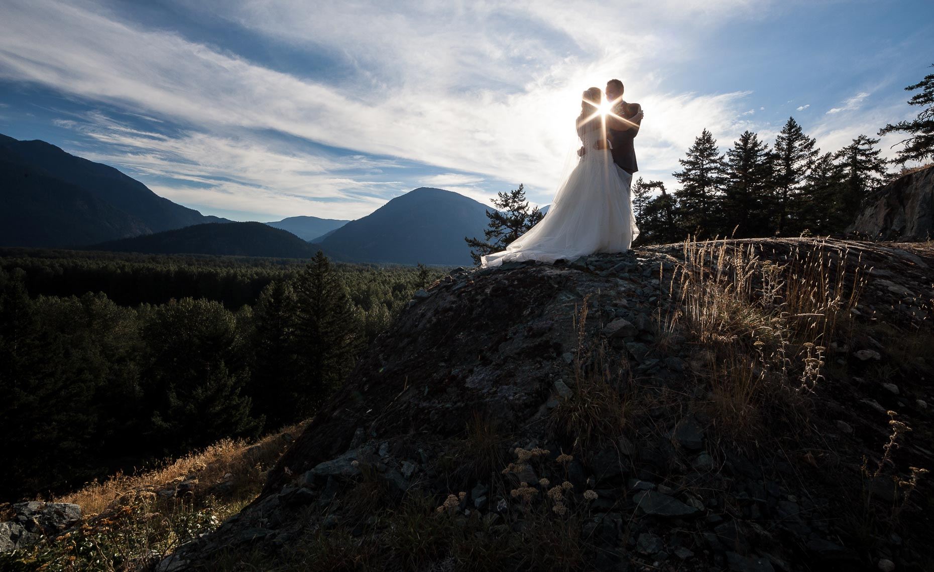 romantic clifftop wedding couple portrait by whistler wedding photographer