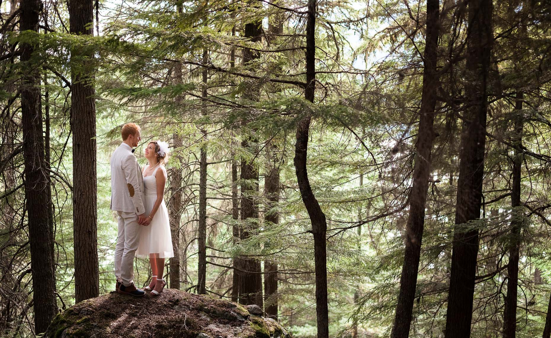 whistler wedding couple in the forest wilderness