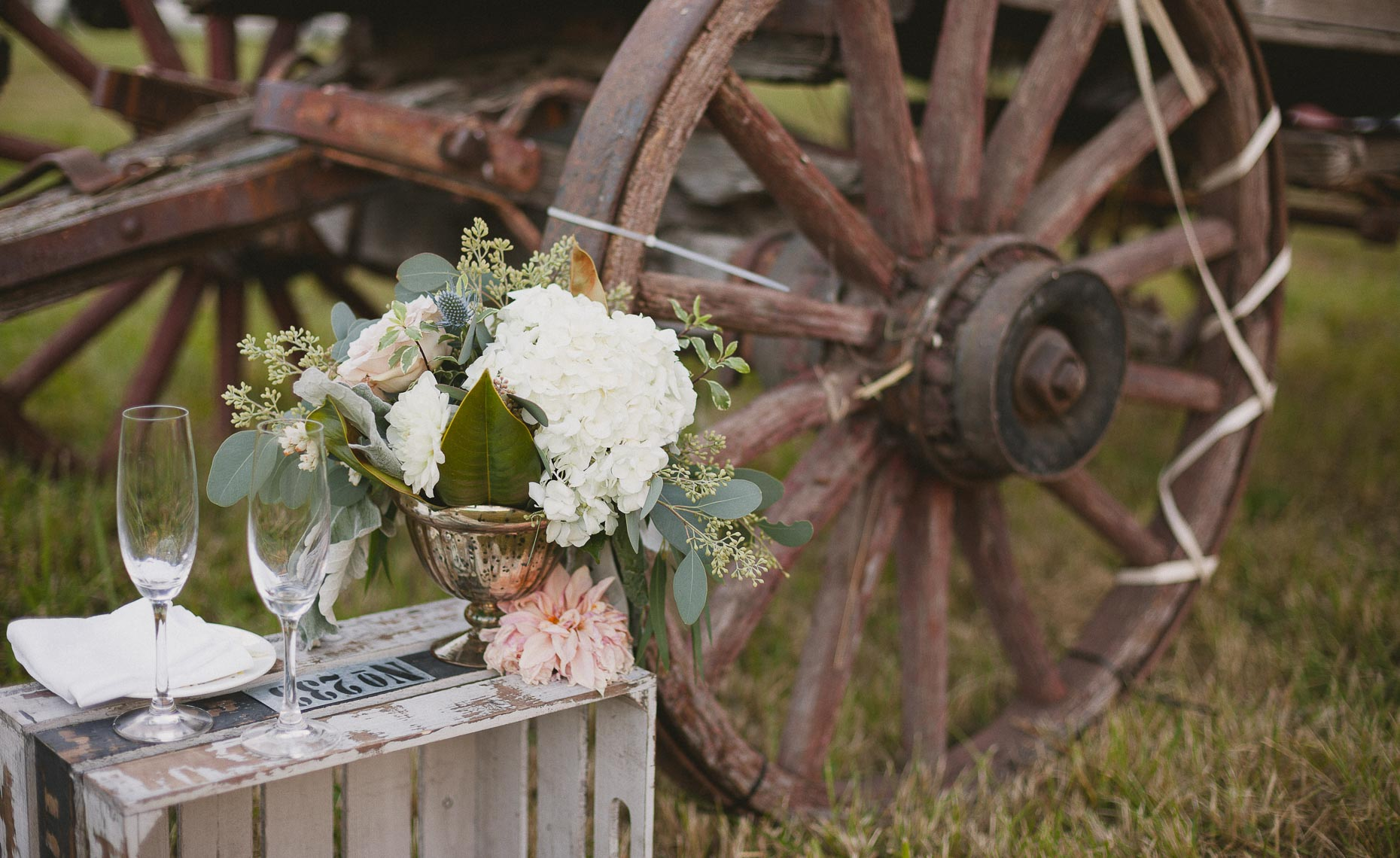 Wedding floral arrangement with vintage farm details in Whistler