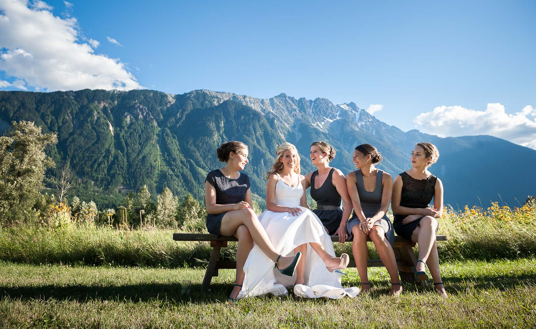 Bridal party at outdoor mountain farm wedding in Whistler.