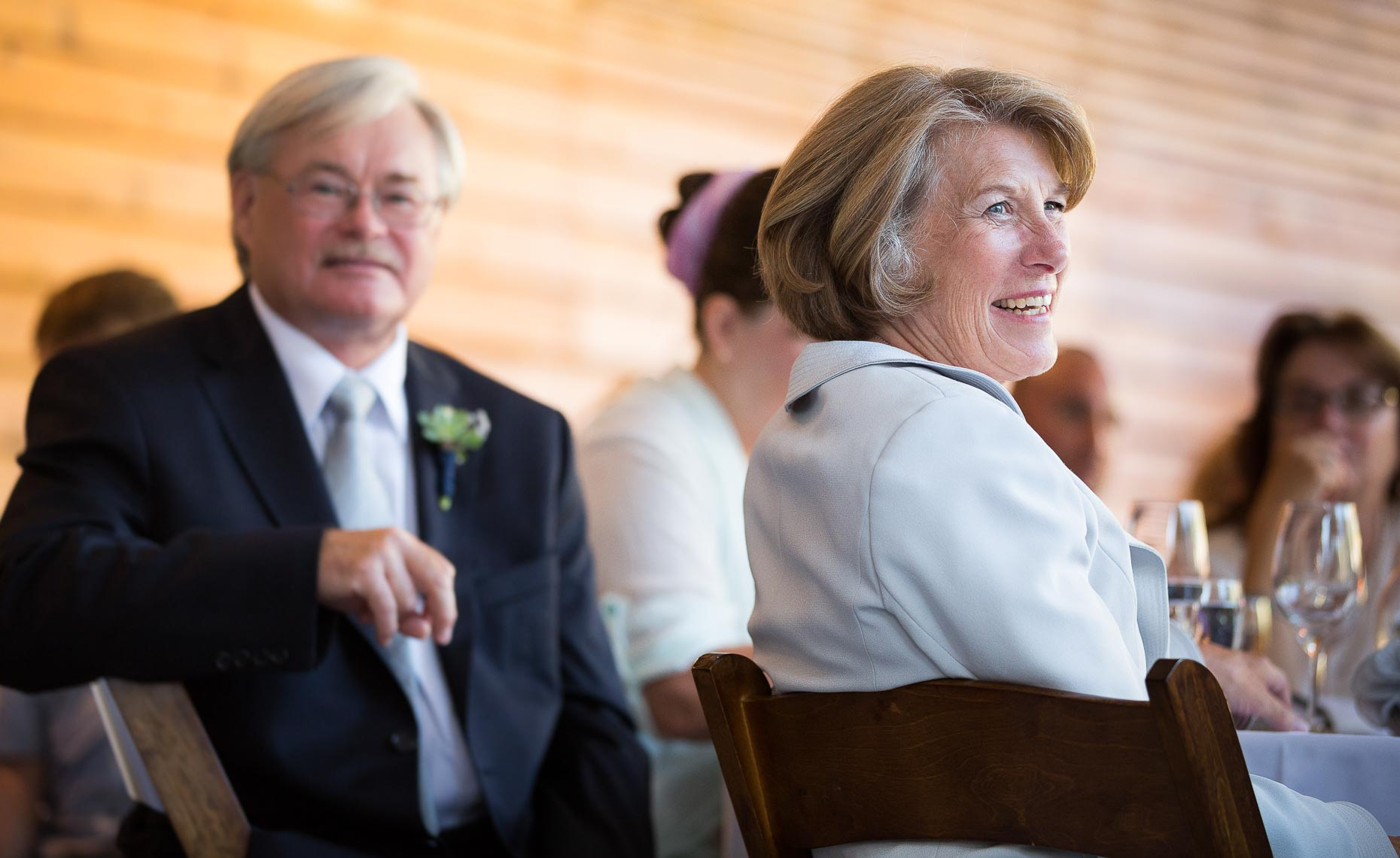 natural portrait of wedding parents during speech in whistler