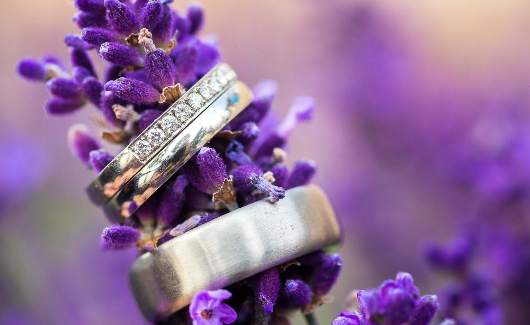Wedding and engagement ring with purple flowers in Whistler, BC